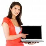 casual girl displaying laptop